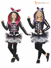 Age 7 - 13 Girls Skeleton Tutu Halloween Fancy Dress Costume Party Kids Children