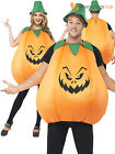 Adult Unisex Pumpkin Costume +Hat Funny Halloween Fancy Dress Mens Womens Ladies