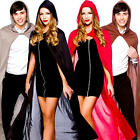 Long Hooded Capes Adults Fancy Dress Halloween Womens Men Witch Vampire Costumes