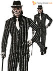 Adult Mens Skeleton Bone Print Pin Stripe Suit Halloween Fancy Dress Costume M L