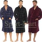 Mens Raiken Check Print Super-Soft Fleece Bath-Robe Winter Dressing Lounge Gown