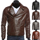 Mens Slim Fit Casual Motorcycle Coats PU Leather Bike Jacket Overcoat Parka Tops