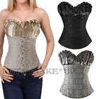 High Quality Brocade Satin Black Gray Beige Sexy Lace up Overbust Corset Bustier