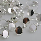 Hot 20/50 PCS Silver Tone Round Cabochon Setting Earring Wires26x14mm(Fit 12mm)
