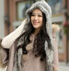 0351 Genuine Winter Women Real Knitted Rabbit Fur Hat With Scarf Cap Bonnet
