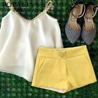 White & Yellow Girls 2Pcs Outfits Kids Baby Sleeveless Tops+Shorts Sets 2-7T A52