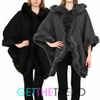 Womens Faux Fur Trim Hooded Cape Ladies Black Winter Overall Coat Poncho Jacket