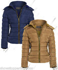 Size 8 10 12 14 16 Womens QUILTED Ladies JACKET COAT PADDED QUILTED Navy Camel