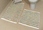 Pastel Blue 100% Cotton Bathroom Mats Set - Washable Bath & Pedestal Mat Sets