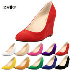 Womens Flannelette Suede high heel pointed contrast court smart party work shoes