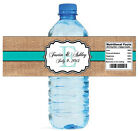 100 Burlap Tiffany Blue Stripe Wedding Shower Water Bottle Labels Bridal Party