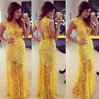 Women Elegant Lace O-neck Long Evening Formal Prom Gown Ball Party Wedding Dress