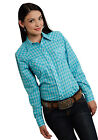 Roper Ladies Blue Cotton Blend Turquoise Plaid L/S Western Shirt