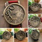 Womens Mens New Retro Notation Note Musical Quartz Watch PU Leather Wrist Watch