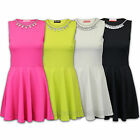 Ladies Skater Dress Womens Diamante Necklace Flared Frankie Stretch Summer New