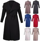 Womens Long Sleeve Ladies Stretch Collar Pocket Belt Jacket Cardigan Trench Coat