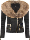 Womens Zip Faux Fur Collar Leather Pu Pocket Top Coat Ladies Biker Jacket 6-12