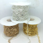 20 Yards Anti-Tarnish Flat Gold Silver Soldered Oval Link Chain 4.5x5.8mm #260RE