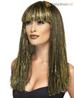 Ladies Black Gold Egyptian Wig Goddess Cleopatra Fancy Dress Costume Accessory