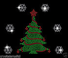 Christmas Tree With Snowflake Crystal Christmas Festive iron on Hotfix Applique