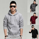New Mens Long Sleeve Sweatshirt Sweater Cotton Casual Hoodies Pullover S-XL RED