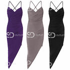 AS45 Womens Ladies Asymmetric Wrap Sleeveless Ruched Backless Bodycon Dress