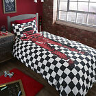 Catherine Lansfield Racing Driver Black White Red Duvet Quilt Cover Bedding Set