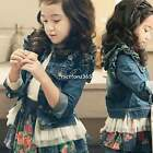 3-11Y Kids Girls Denim Jean Jacket Tulle Hem Coat Cowboy Slim Outwear Tops N4U8