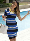 NEW Angel Maternity Basic Cotton Nursing Fitted Dress in Blue Stripes - NB815G