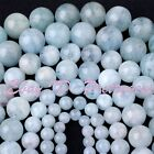 "Natural Aquamarine Blue Smooth Round Gemstone Beads Strand 15"" 4,6,8,10,12mm"