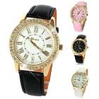 Fashion Bling Crystal Faux Leather Strap Golden Analog Quartz Wrist Watch STGG