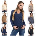 Ladies Top with Buttons Size 8/10/12 Women's Jumper Long Sleeves Blouse