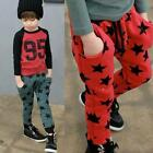 Toddler Boys Cotton Long Pants Stars Pattern Casual Trousers Warm Bottoms Hot