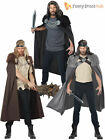 Mens Game of Thrones Fur Trimmed Cape Cloak Medieval Warrior Fancy Dress Costume