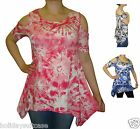 NEW LADIES WOMANS GYPSY BOHO KEYHOLE SLEEVE TIE DYE SUMMER TOP SIZE 12-26