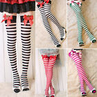 Sexy Womens Striped Strawberry Bow Thigh High Socks Stockings New RD