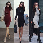 Women Turtleneck Bodycon Pencil Casual Knit Winter Sweater Long Sleeve Dress New