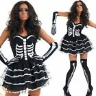 Ladies Sexy Skeleton Bones Tutu Halloween Fancy Dress Costume Womens Outfit