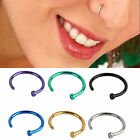 2pcs New Stainless Steel Colorful Nose Hoop Ring Earring Body Piercing Jewelry