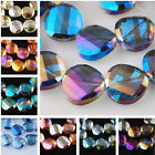 14mm Charms Faceted Twist Tile Glass Crystal Finding Loose Spacer Beads Color