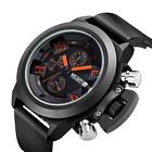 Megir Luxury Silicone Military Analog Date Chronograph Men Wrist Watch Black Hot