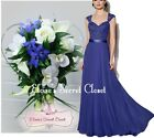 NWT RIVA Sapphire Blue Lace Chiffon Maxi Bridesmaid Ballgown Dress Size UK 6 -18