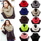 Women Men's Winter Warm Infinity 2 Circle Cable Knit Wool Long Scarf Shawl Wrap
