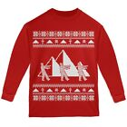 Mummy Pyramid Ugly Christmas Sweater Red Youth Long Sleeve T-Shirt