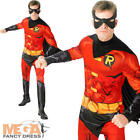 Robin Mens Fancy Dress Batman DC Superhero Comic Book Week Adult Costume Suit