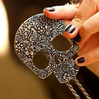 Women Attractive Vogue Vintage Gothic Carved Skull Pendant Sweater Necklace