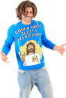 Adult Gonna Party Cuz It's His Birthday Jesus Blue Ugly Christmas Xmas Sweater