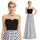 NEW Strapless Polka Dots Long Formal Wedding Evening Gown Bridesmaid Party Dress