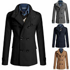 Men's Fashion Coat Double Breasted Peacoat Long Jacket Winter Dress Top Overcoat