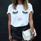 Chic Fashion Womens Lip Eyelash Summer Loose Tops Short Sleeve Blouse T Shirt